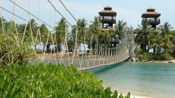 View of suspension bridge at Palawan Beach