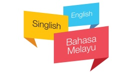Illustration of speech bubbles indicating Singlish and other languages
