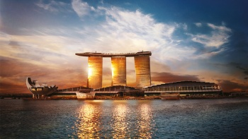 Sunset reflected off Marina Bay Sands®
