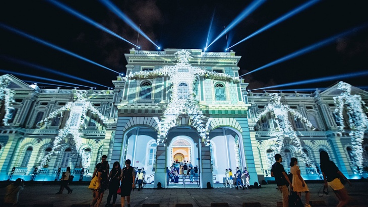 Light projections on the exterior of National Museum of Singapore at Singapore Night Festival