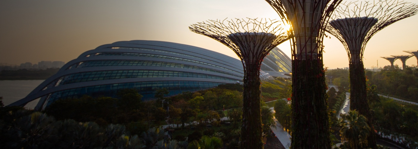 Aerial view of Gardens by the Bay, including Cloud Forest and Flower Dome, and Supertrees.