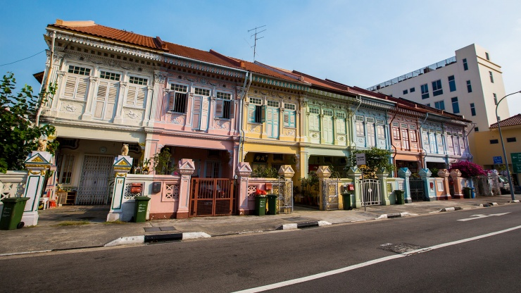 Colourful heritage shophouses along Koon Seng Road