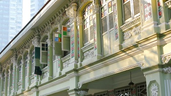 Close up of the façade of shophouses along Keong Saik Road