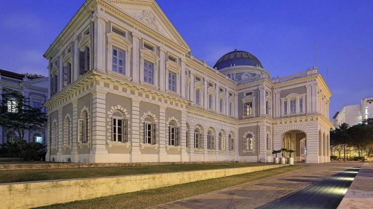 Façade of National Museum of Singapore at night
