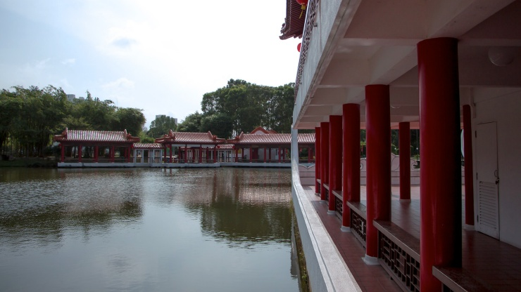 The Chinese Garden is modelled after the northern Chinese imperial style of architecture and landscaping.