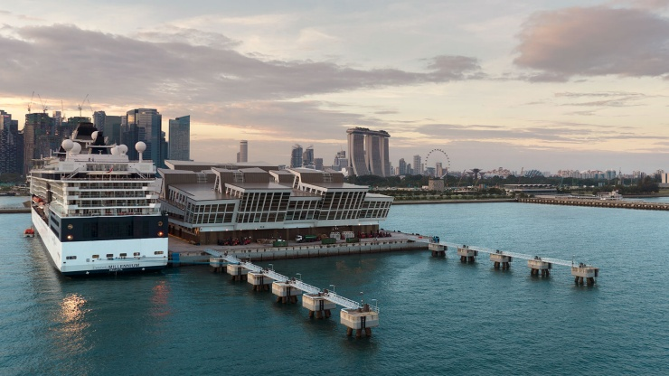 Aerial view of Marina Bay Cruise Centre Singapore against the Singapore skyline