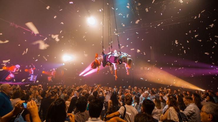 Wide shot of Fuerza Bruta, an Argentinean acrobatics troupe, which will be coming for Singapore Night Festival.