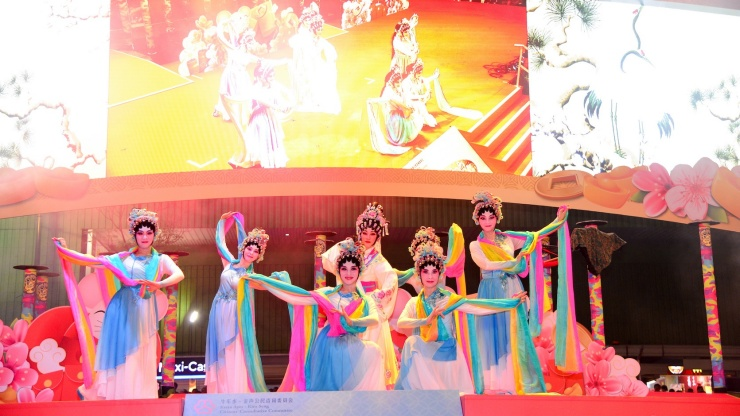 Dancers performing during Chinese New Year