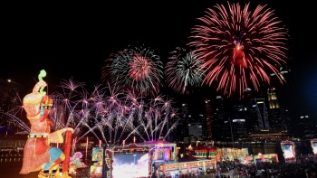 Wide shot of fireworks during the Chinese New Year countdown celebration