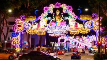 Colourful bright lights at Little India Deepavali Street Light-Up 2017