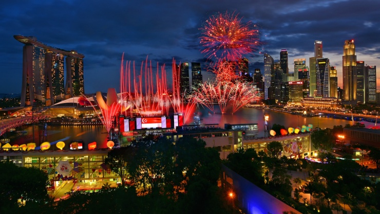 See the country come alive in red and white leading up to National Day, Singapore.