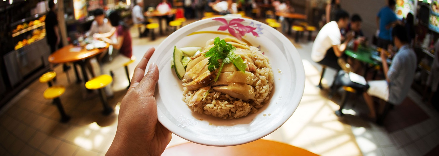 Plate of chicken rice in a hawker centre