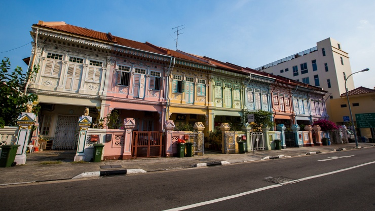 Colourful heritage shophouses along Koon Seng Road at Joo Chiat/Katong Singapore.