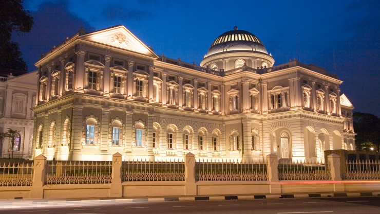 The façade of National Museum of Singapore at night