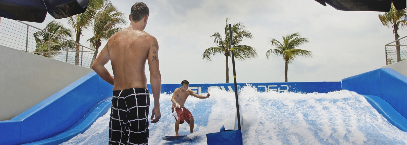 Man on FlowRider at Wave House Sentosa