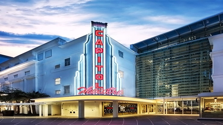 Evening shot of Capitol Theatre, an adjoining theatre to Capitol Singapore with a blue sky
