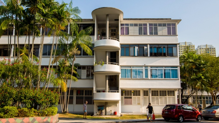 Architecture of conserved flats in Tiong Bahru