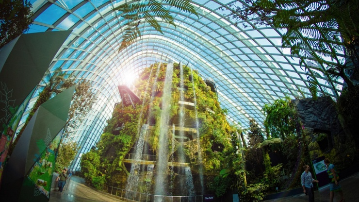 Gardens by the Bay's cool and misty Cloud Forest Dome contains the world's largest indoor waterfall.