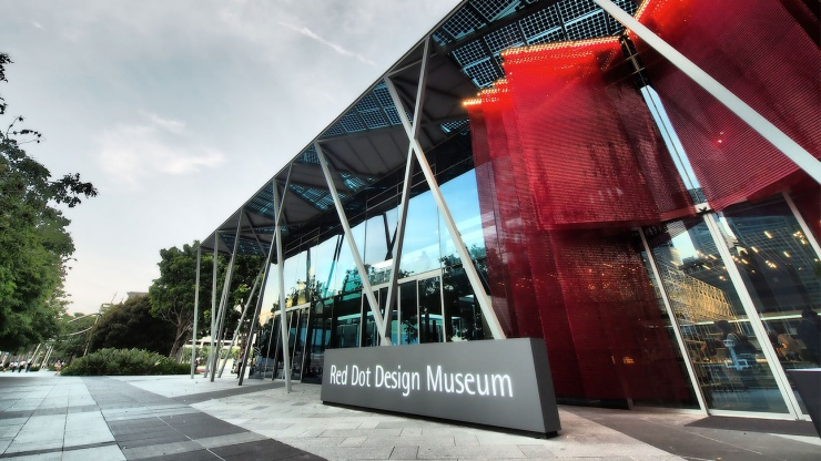 Red Dot Museum Singapore exterior at Marina Bay