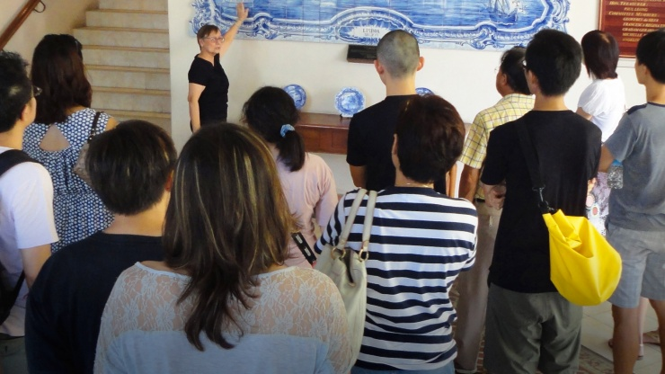 Tour group at the Eurasian Heritage Centre in Singapore