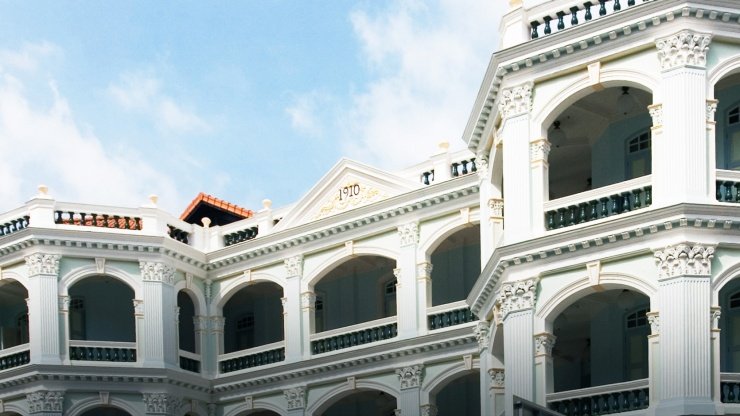 The Neoclassical designed exterior of the Peranakan Museum