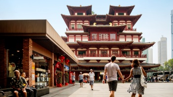 Built in 2007, the Buddha Tooth Relic Temple & Museum is a recent addition to the historic Chinatown.