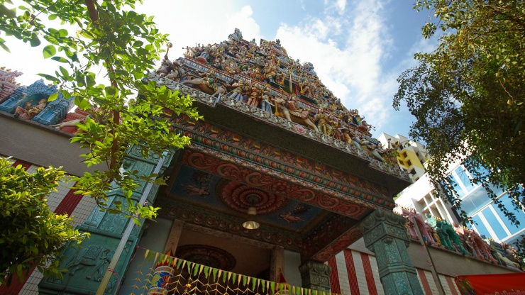 The Sri Veeramakaliamman Temple is a distinctive landmark in the heart of Little India.
