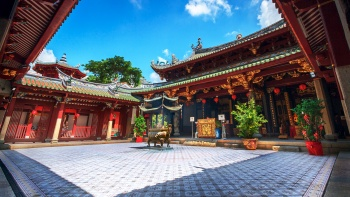 "The Thian Hock Keng Temple in Singapore was also known as the ""Temple of Heavenly Happiness""."