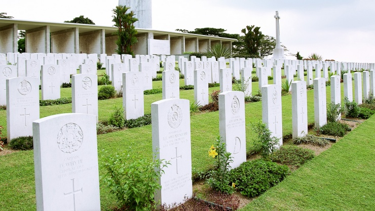 Gravestones of those who died in the line of duty during World War II at Kranji War Memorial