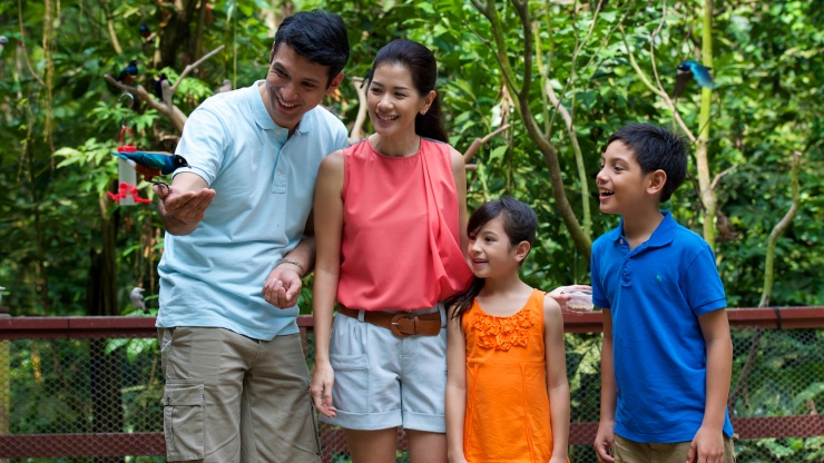 Family of four interacting with a bird at an exhibit in Jurong Bird Park in Singapore