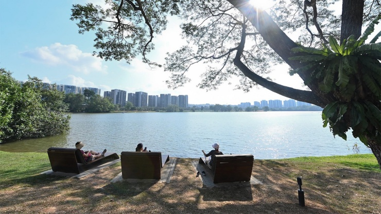 People relaxing at the Lakeside Promenade in Jurong Lake Gardens