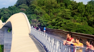 People exercising on the Henderson Waves bridge