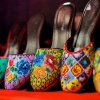 Close up shot of embroidered Peranakan shoes