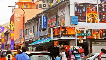 Street view of a bustling and vibrant Little India