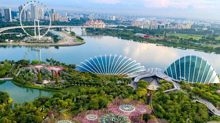 Drone shot of Gardens by the Bay and Singapore Flyer