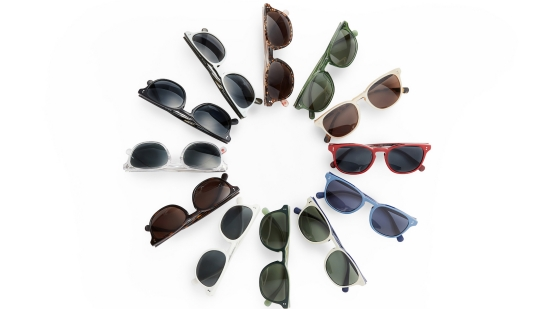 Sunglasses from Rocket Eyewear displayed in a circular manner