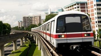 An incoming Mass Rapid Transit (MRT) train on the rail track