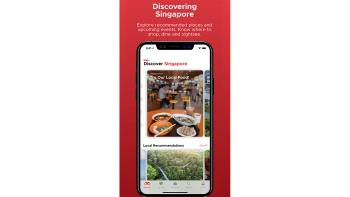 "Mobile phone screen showing ""Discover Singapore"" tab on VS Travel Guide app"