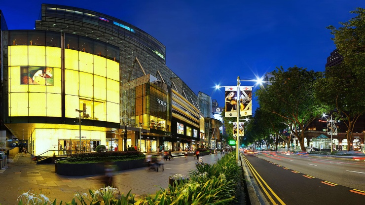 Exterior of Paragon mall along Orchard Road at night