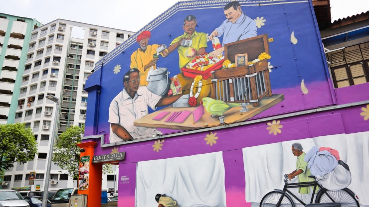In this mural, a local artist pays homage to the traditional trades that were once prevalent in Little India.