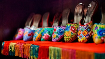 A display of colourful beaded Peranakan slippers