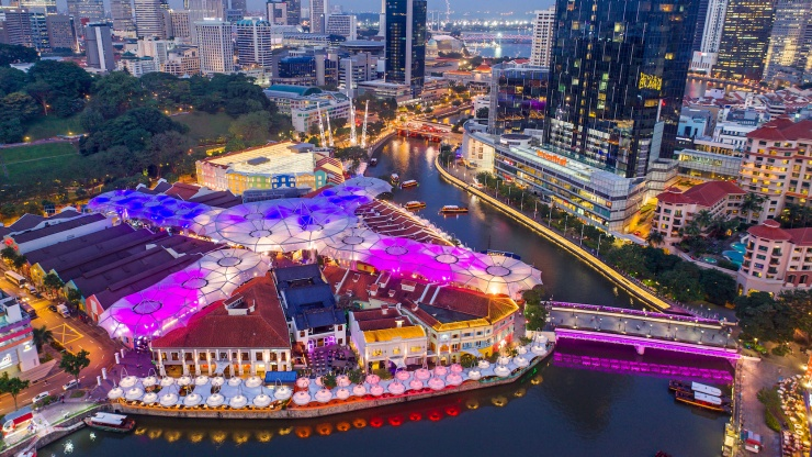 Aerial shot of the Clarke Quay district and the Singapore River